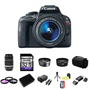 Canon EOS Rebel SL1 DSLR Camera with EF-S 18-55mm f/3.5-5.6 IS STM Lens with Canon EF-S 55-250mm f/4-5.6 IS II Lens for Digital SLR Cameras 32GB Package 2