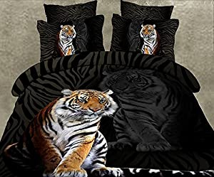 Lovelyou King Style of the Tiger 100% Cotton Queen Size 3d Print Bedding Set (1 Duvet Cover + 1 Bed Sheet + 2 * Pillow Case)