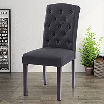 Giantex Set of 2 Linen Fabric Wood Accent Dining Chair Tufted Modern Living Room (Black)