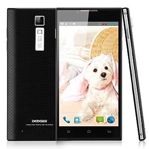 Smartphone Noir - DOOGEE TURBO DG2014 5.0 pouces écran HD IPS + Syllable écouteur MTK6582 Quad Core Android 4.2 1G RAM 8G ROM portable 3G Double SIM Double Veille téléphone portable 8.0MP Caméra Wifi GPS pour orange, SFR, Bouygues, Free etc