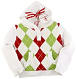 Mud Pie Argyle Hooded Sweater, White/Red/Green Argyle, 0-6 Months