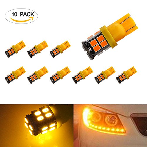 194 LED Light Bulbs EZYKOO 10 Pack 12V Super Bright T10 Wedge High Power 2835 20 SMD LED Bulbs Fits 194 168 2825 W5W for Replacement Interior Side Courtesy Dome Marker Parking Light (Yellow) (Nissan Hardbody Dome Light compare prices)