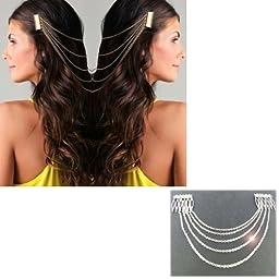 HuaYang Chic Hair Cuff Pin Head Band Chains 2 Combs Tassels Fringes Boho Punk(SILVER)