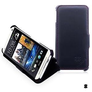 Étui housse de protection luxe pour HTC One M7 EN CUIR VÉRITABLE* très élégant | CUIR de NAPPA | surpiqûres en rouge | Avec la fonction de mise en place (idéal pour la lecture de vidéos et textes)