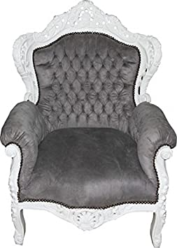 Casa Padrino Baroque Armchair 'King' Grey / WhiteAntique Style