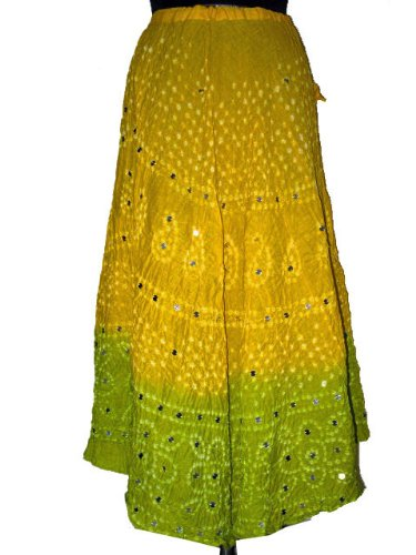 Womens Fashion Bandhani Tie and Dye Long Skirts in Corn Lime Pie with Sequin Cotton 36&quot; Free Shipping