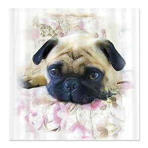 CafePress Pug Dog Shower Curtain - Standard White