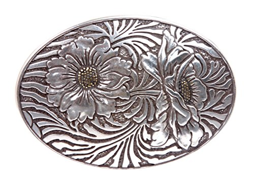 Oval Sunflower Engraving Belt Buckle