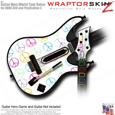 Kearas Peace Signs on White Skin fits Band Hero, Guitar Hero 5 & World Tour Guitars for XBOX 360 & PS3 (GUITAR NOT INCLUDED) by WraptorSkinz TM - (OEM Packaging)