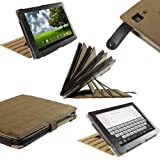 IGadgitz Brown 'ArmourDillo' Genuine Leather Case Cover for Acer Iconia Tab A500 A501 10.1 Android Tablet 16gb 32gb