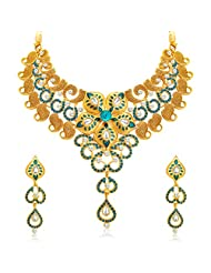 Sukkhi Stylish Gold Plated AD Necklace Set For Women