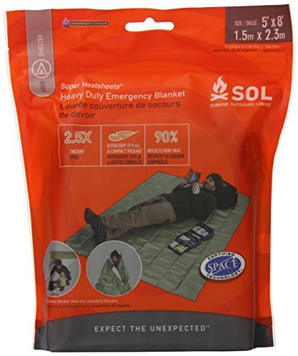 Survive Outdoors Longer Heavy Duty Emergency Blanket, 0.412 Pound Extra Thick Strength To Rig Into A Tarp Reflects 90% Of Radiated Body Heat To Help Keep You Warm