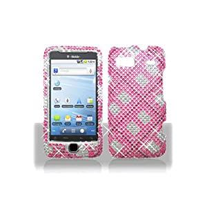 Motorola A955 Droid 2 Full Diamond Graphic Case - Hot Pink Plaid