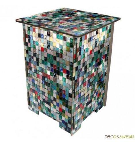 Photo taburete mosaico de azulejos (multicolor)