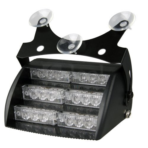 Aurnoc 18 Led Emergency Vehicle Strobe Lights For Windshields Dashboard 3 Flash Modes Available In White / Amber (White)