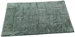Textile Décor Castle Hill Bath Mat with Spray Latex Backing, New Tile Design, 24 by 40-Inch, Green