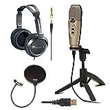 CAD Audio U37 USB Studio Recording Microphone with Knox Pop Filter & Full-Size Headphones