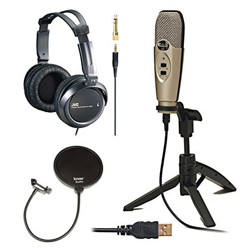 CAD-Audio-U37-USB-Studio-Recording-Microphone-with-Knox-Pop-Filter-Full-Size-Headphones