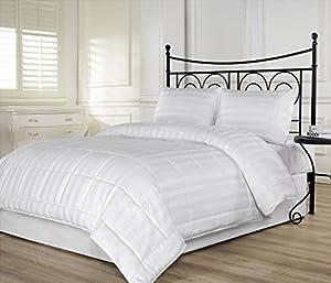 3pcs Hotel Dobby Stripe Down Alternative Lightweight Comforter Set Queen