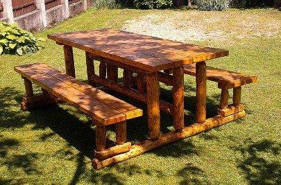 Casa Padrino Gartenmöbel Set Rustikal Tisch + 2 Garten Bänke Mod GM2 – Eiche Massivholz – Echtholz Möbel Massiv online kaufen
