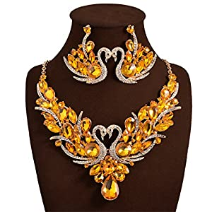 Holylove Yellow Color Romantic Bling Crystal Rhinestone Swan Necklace & Earrings Wedding Party Jewelry Set