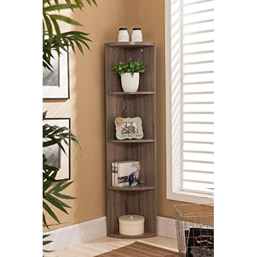 Kings Brand Furniture Wood Wall Corner 5 Tier Bookshelf Display Stand, Grey