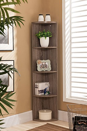 Kings Brand Furniture Wood Wall Corner 5 Tier Bookshelf Display Stand, Grey