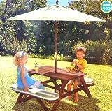 Kidkraft Picnic Table with Large Rectangular Umbrella & Matching Seat Cushions