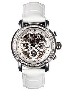 André Belfort 410141 - Reloj analógico de mujer automático con correa de piel blanca - sumergible a 50 metros