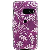 Crystal Hard Purple RUBBERIZED With Flowers Leaves Design Cover Case for LG RUMOR TOUCH LN510 (SPRINT) [WCS763] ~ Wireless Central