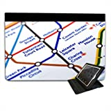 Close Up Tube Map Leicester Square, London For Apple iPad Mini Leather Folio Presenter Case Cover with Stand Capability