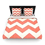 "Kess InHouse Ann Barnes ""Vintage Coral"" Orange Chevron Twin Woven Duvet Cover, 68 by 88-Inch"