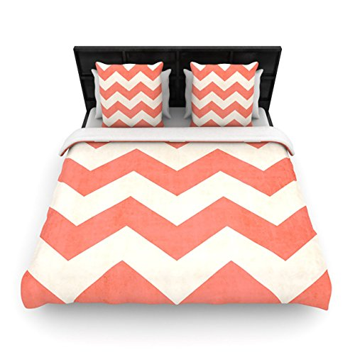 "Kess Inhouse Ann Barnes ""Vintage Coral"" Orange Chevron King Woven Duvet Cover, 88 By 104-Inch front-1001515"
