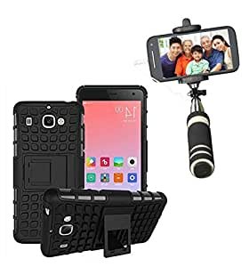 Aart Hard Dual Tough Military Grade Defender Series Bumper back case with Flip Kick Stand for Samsung S7 + Aux Wired Mini Pocket Selfie Stick by Aart store.