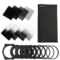 XCSOURCE® 8 PCS Graduated ND Filter Set(ND2 ND4 ND8 ND16 G.ND2 G.ND4 G.N8 G.ND16)+ 9 Metal Adapter Ring (49mm/52mm/55mm/58mm/62mm/67mm/72mm/77mm/82mm)+ Holder For Cokin P LF291