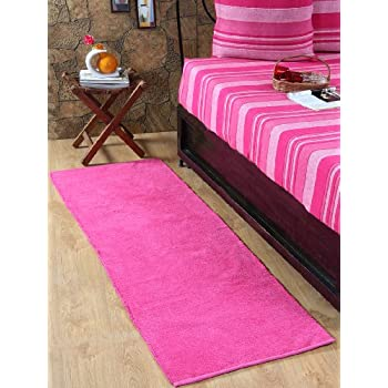 pas cher homescapes tapis de couloir uni chenille 100 coton rose cerise 66 x 200 cm. Black Bedroom Furniture Sets. Home Design Ideas