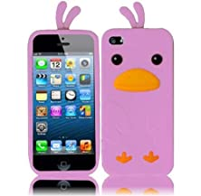 buy Vmg +Eb 2-Item Sp Combo Bundle For Apple Iphone 5 / Iphone 5S Cell Phone Funny Duck Design Soft Rubber Silicone Skin Case Cover - Light Pink + Free Black Earbud Ear Bud Gift + Lcd Clear Screen Saver Cover Protector