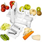 Recipe E-book Included! The Crafty Kitchen Tri Blade Vegetable Slicer - Spiral Cutter - Spiralizer for Vegetables, Fruit and Raw Food Cuisine - Gluten Free Pasta - Zucchini Noodles - Mandoline - Create Healthy Gourmet Meals with Zero Risk - 100% Lifetime Guarantee