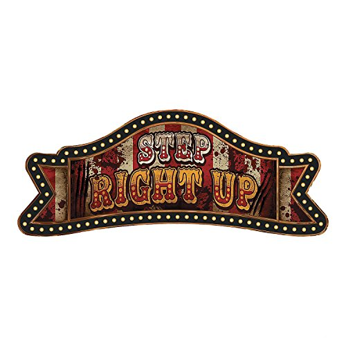 "Paper Big Top Terror 5 Ft. Banner "" Step Right Up"" - Halloween Decoration - 1"
