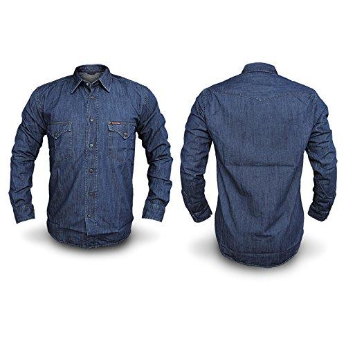 Camicia Jeans Uomo CARRERA Art.205 Regular Denim Tg S/M/L/XL/XXL 2 VARIANTI DD ( Blu Scuro - XXL - 45/46)