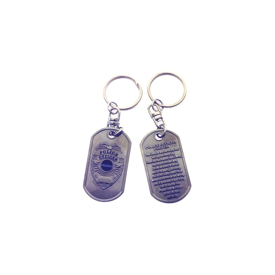 Police Officers Prayer Brushed Steel Keychain