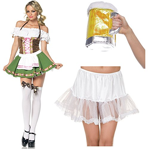 Sexy Gretchen Adult Costume With Beer Stein Purse and Lace White Petticoat (XL)