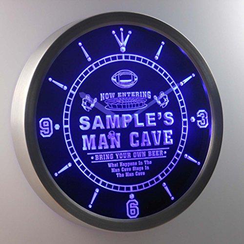 Ncqa-Tm Name Personalized Custom Man Cave Football Bar Beer Neon Sign Led Wall Clock