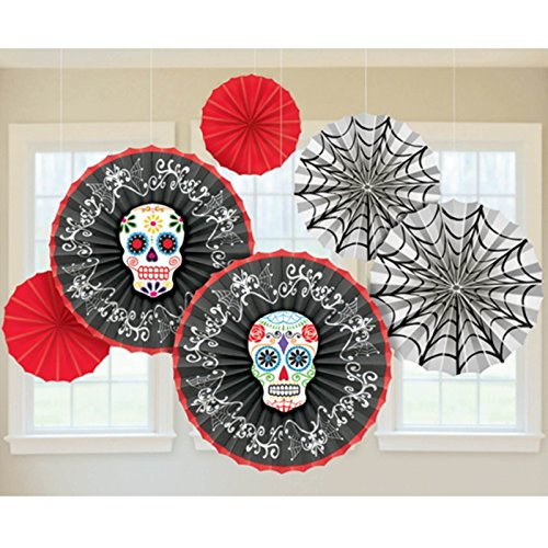 6 Halloween Muertos Day Of The Dead Festival Paper Fan Hanging Party Decorations (Day Of The Dead Party Ideas)