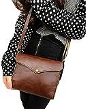 Damen Umhängetasche Retro PU Leder Einfach Handtasche Einstellbar abziehbar Schultertasche - Ularmo (1, braun)