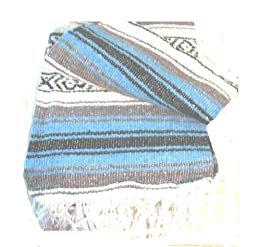 Light Blue Falsa Mexican Yoga Blanket Large 7\'/5\'