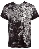 Sakkas Vines and Fleur De Lis Metallic Silver Embossed Short Sleeve Crew Neck Cotton Mens Fashion T-Shirt