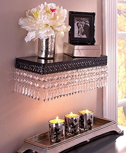 Beaded Metal Wall Shelf (Black/Clear)