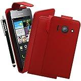 BAAS® Coque Huawei Ascend Y300 Rouge Etui Cuir Clapet Housse + 3x Film de Protection d'Ecran + Stylet Pour Ecran Tactile Capacitif