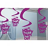 Amscan International Pink Shimmer Hanging Swirl Decorations Happy Birthday, Pack of 5